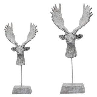 dekorative Tischdeko Rentierkopf mit Geweih auf Fuß altsilber-grau