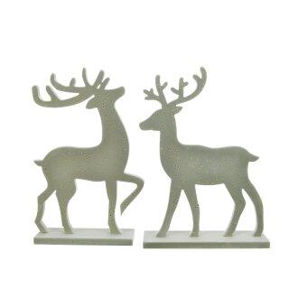 dekorative Deko-Hirsche Hirschfiguren als Silhouette moosgrün samtig beflockt mit kleinen Goldpunkten im 2-er Set