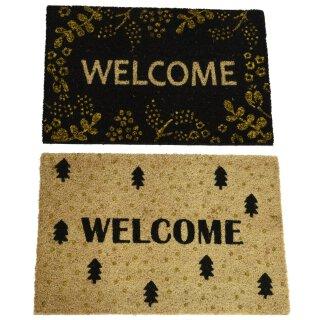 Kokos Fussmatte Welcome in schwarz-gold oder natur-gold mit PVC-Antirutsch-Rücken