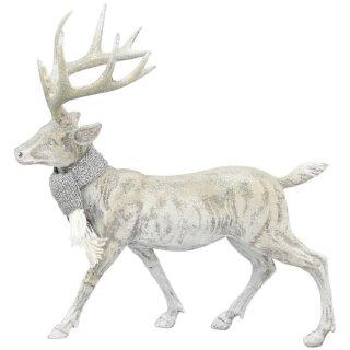 stimmungsvoller dekorativer Hirsch Weihnachtshirsch Dekohirsch in hellgrau mit silbernem Schal