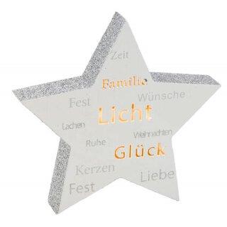 stimmungvoller LED beleuchteter Deko-Stern mit Beschriftung batteriebetrieben