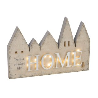 stimmungvolle kleine LED beleuchtete Deko-Häuserzeile mit Beschriftung HOME batteriebetrieben