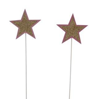 weihnachtlicher Dekostecker Pick Stern am Stab Dekostern Holz in rosa/pink mit goldenem Glitzer