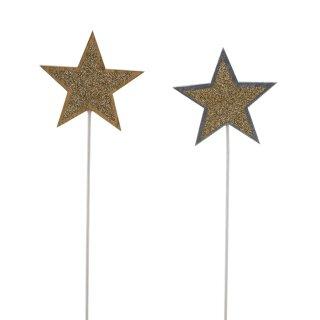 weihnachtlicher Dekostecker Pick Stern am Stab Dekostern Holz in silber/ gold mit goldenem Glitzer