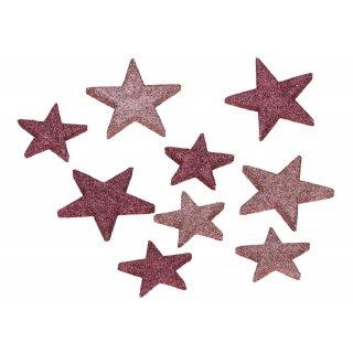 dekorative weihnachtliche große Streudeko Tischdeko Basteldeko Sterne mit Glitzer rosa-pink