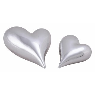 Herz liegend silberne Keramik