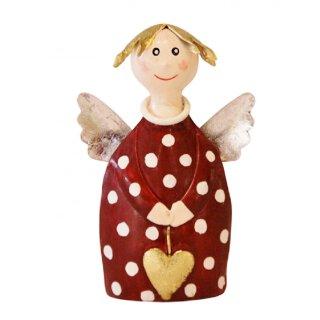 putziger kleiner Engel Lotta zu stellen mit Herzchen und Flügelchen Metall handbemalt weinrot-creme