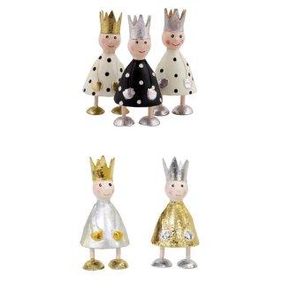 putzige kleine Dekofigur König zu stellen mit silberner oder goldener Krone Metall handbemalt