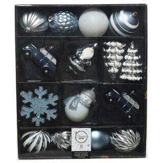 25-er Set dekorativer Figuren-Kugelmix PVC blau/weiß/silber Weihnachtskugeln Baumschmuck bruchfest Christbaumschmuck