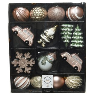 25-er Set dekorativer Figuren-Kugelmix PVC puderrosa/champagner/weiß/lindgrün Weihnachtskugeln Baumschmuck bruchfest Christbaumschmuck