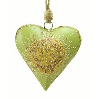 dekorativer Anhänger Herz grün-beige antik patiniert