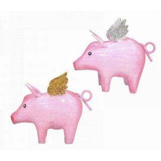 niedliches putziges rosafarbiges Mini Metallschwein mit Flügeln als Dekofigur