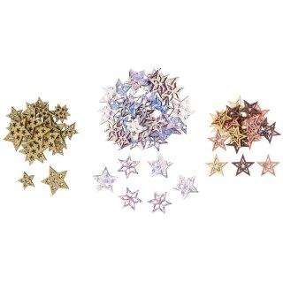 dekorative weihnachtliche Streudeko Tischdeko Basteldeko Stern mit Glitzer, irisierend glänzend oder farbig