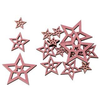 dekorative weihnachtliche große Streudeko Tischdeko Basteldeko Stern rosa samtig beflockt