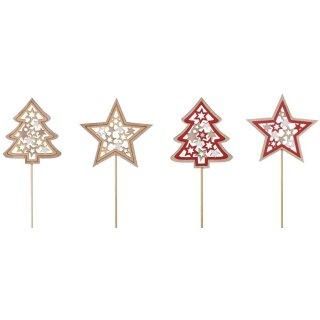 weihnachtlicher Dekostecker Pick Stern und Tanne am Stab mit Sternenmuster aus Holz