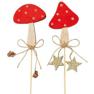 Dekostecker Pick Fliegenpilz Glückspilz am Stab Holz in samtig rot mit goldenen Punkten