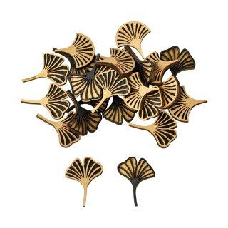 dekorative kleine Streudeko Tischdeko Gingkoblatt schwarz-gold aus Holz  im 24-er Set