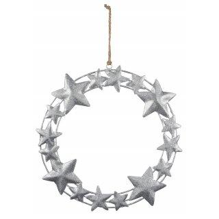 weihnachtlicher dekorativer Deko-Kranz mit Sternen Metall mit Silberglitzer im Landhaus-Stil