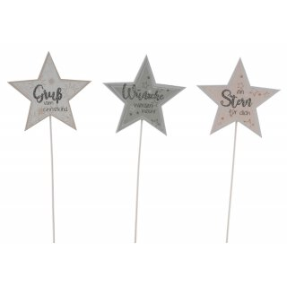 weihnachtlicher Dekostecker Pick Stern am Stab Dekostern Holz in weiß-grau-taupe mit etwas Glitzer und 3 verschiedenen Wünschen 3-er Set