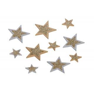 dekorative weihnachtliche Streudeko Tischdeko Basteldeko Stern Holz gold und silber mit Glitzer 16-er Set