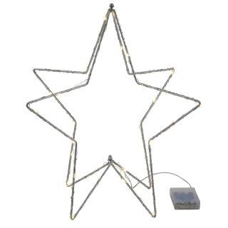 stimmungvoller LED beleuchteter Deko-Stern 3-dimensional Metall silberfarbig für innen