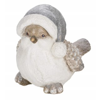 großer dekorativer nostalgischer Deko-Vogel mit Pudelmütze grau-weiß geeist mit etwas Glitzer für innen und außen