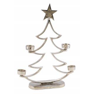 stimmungsvoll dekorativer Tannenbaum als Silhouette aus silberfarbenem Aluminium mit Stern und 4 Teelichthaltern