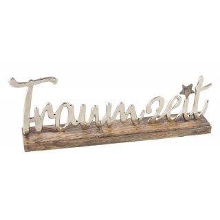dekorativer Schriftzug TRAUMZEIT aus Mangoholz und Aluminium