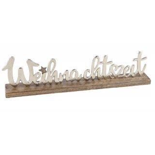 dekorativer weihnachtlicher Schriftzug WEIHNACHTSZEIT aus Mangoholz und Aluminium