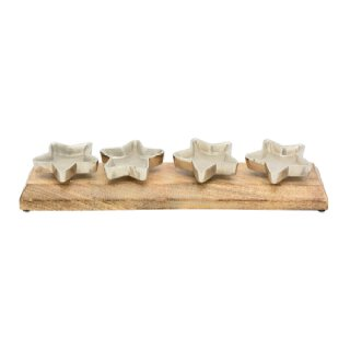 dekoratives Kerzentablett mit 4 sternförmigen Kerzentellern in für Stumpenkerzen