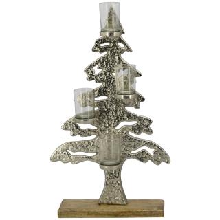 stimmungsvoll dekorativer Tannenbaum aus silberfarbigem Aluminium und Holz mit 4  Windlichtgläsern