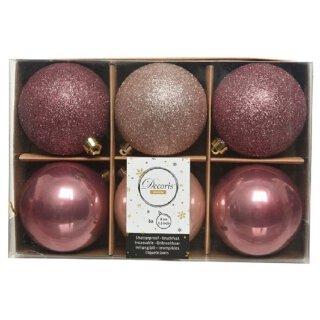 6er Set Kugelmix 8 cm PVC pink Weihnachtskugeln Baumschmuck bruchfest Christbaumschmuck