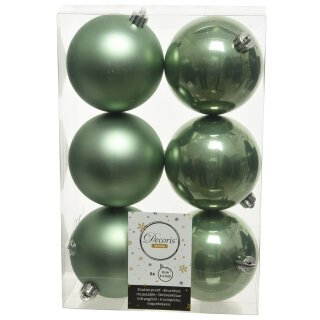 6er Set Kugelmix 8 cm PVC salbeigrün Weihnachtskugeln Baumschmuck bruchfest Christbaumschmuck
