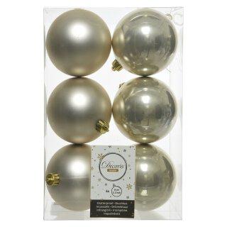 6er Set Kugelmix 8 cm PVC perle Weihnachtskugeln Baumschmuck bruchfest Christbaumschmuck