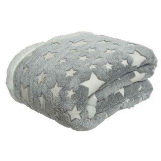 kuschelig warme Fleecedecke in grau mit weissen Sternen 130 x 150 cm inkl. Transportbeutel