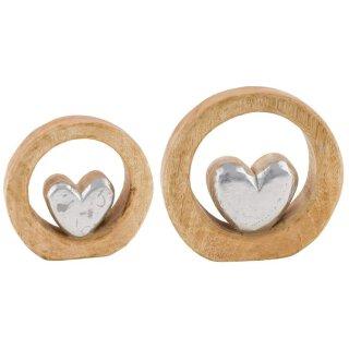 dekoratives Deko-Objekt mit silbernem Herzchen aus Holz in 2 möglichen Größen