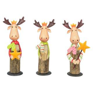 dekorative ausgefallene Deko-Figur Elch Holz und Metall bemalt