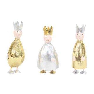 putzige kleine Dekofigur König zum stellen mit silberner oder goldener Krone aus Metall hergestellt in Handarbeit