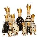 stimmungsvolle mittlere Dekofigur König zum stellen in creme-schwarz mit goldener Krone aus Metall