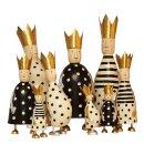 stimmungsvolle ganz große Dekofigur König zum stellen in schwarz-creme mit goldener Krone aus Metall