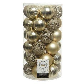 37er Set Kugelmix PVC champagner Weihnachtskugeln Baumschmuck bruchfest Christbaumschmuck