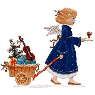 Wilhelm Schweizer Zinnfigur Engel mit Geschenkekarren Jahresengel 2008