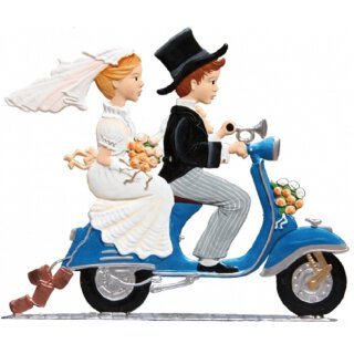 Wilhelm Schweizer Zinnfigur Brautpaar auf Roller Just married