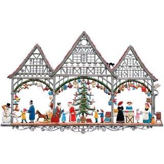 Wilhelm Schweizer Zinnfigur Weihnachtmarkt Fensterbild