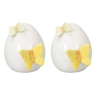 dekoratives frühlingshaftes kleines Deko-Ei Keramik-Ei Oster-Ei Keramik weiß glänzend mit gelbem und hellgrünem Schmetterling 2 Stück