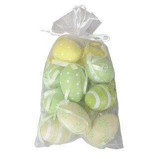 dekorative Oster- Anhänger-Ei wetterfeste Eier Set mit 12 Stück gelb-grün-creme