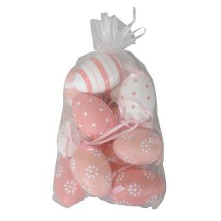 dekorative Oster- Anhänger-Ei wetterfeste Eier Set mit 12 Stück weiß rosa
