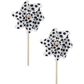 dekoratives Windrad Windmühle auf Stab PVC weiß mit schwarzen Punkten Preis für 2 Stück
