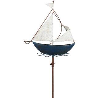 dekorativer maritimer Garten-Stecker Deko-Stecker Segelboot Metall blau weiß