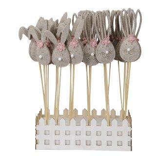 frühlingshafter kleiner Oster-Stecker Blumen-Stecker Pick Osterhase mit weißer Plüschnase und rosa Blümchen